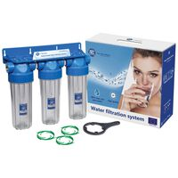 """1/2 Inch Triple 10"""" Filter Housing Three Stage Water Filtration"""