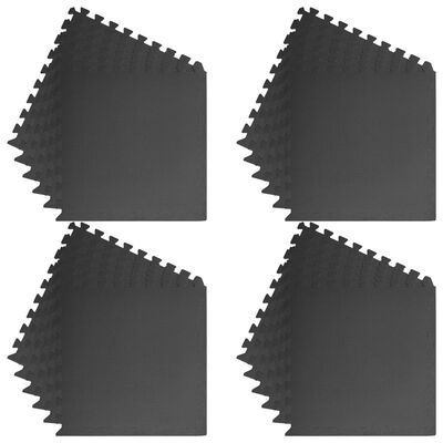 vidaXL Floor Mats 24 pcs 8.64 ㎡ EVA Foam Black