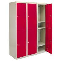 Monster Racking Metal Storage Lockers, 3 x 2 Doors - Red
