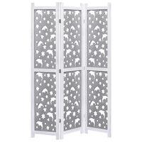 vidaXL 4-Panel Room Divider Grey 140x165 cm Solid Wood