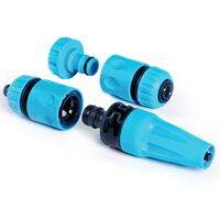 3/4 Inch Garden Plastic Spray 4 Piece Hose Connector Nozzle Set