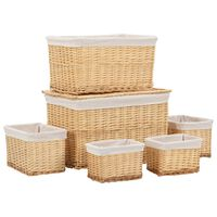 vidaXL 6 Piece Stackable Basket Set Natural Willow