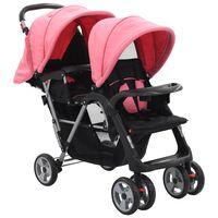 10157 vidaXL Tandem Stroller Pink and Black Steel