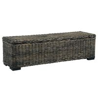 vidaXL Storage Box 120 cm Black Kubu Rattan and Solid Mango Wood