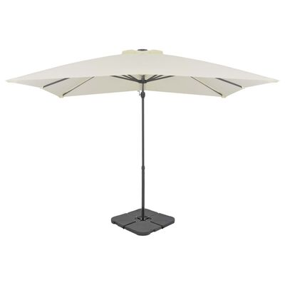 This parasol features a sturdy aluminium frame, a large UV-resistant cover and an extra portable base, so it is perfect for protecting you from sunlight.