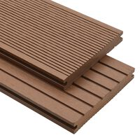 vidaXL WPC Solid Decking Boards with Accessories 10m² 2.2m Light Brown