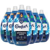 6x 870ml Comfort Ultimate Care Fresh Sky Fabric Conditioner 58w
