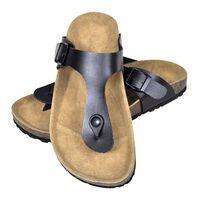 vidaXL Women's Bio Cork Sandal with Flip Flop Design Black Size 38