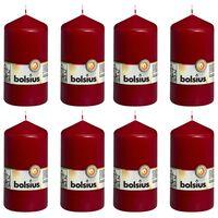Bolsius Pillar Candles 8 pcs 130x68 mm Wine Red
