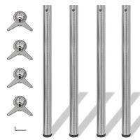 4 Height Adjustable Table Legs Brushed Nickel 870 mm