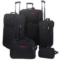 vidaXL Five Piece Travel Luggage Set Black