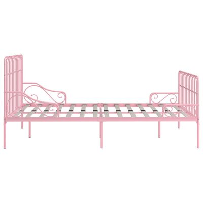 vidaXL Bed Frame with Slatted Base Pink Metal 180x200 cm