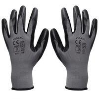 vidaXL Work Gloves Nitrile 24 Pairs Grey and Black Size 8/M