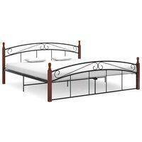 vidaXL Bed Frame Black Metal and Solid Oak Wood 180x200 cm