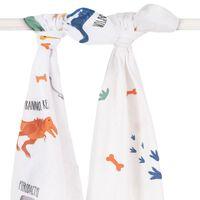 Jollein Hydrophilic Multifunctional Cloth 2 pcs Dinosaur 115x115 cm White