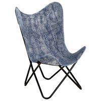 vidaXL Butterfly Chair Indigo Blue Canvas