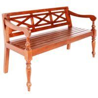 vidaXL Batavia Bench 136 cm Solid Mahogany Wood Dark Brown