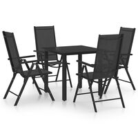 vidaXL 5 Piece Garden Dining Set Aluminium Black