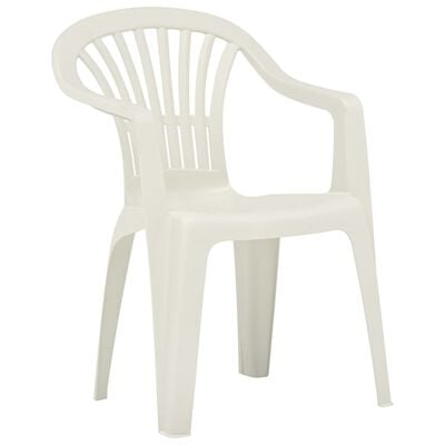 vidaXL Stackable Garden Chairs 45 pcs Plastic White