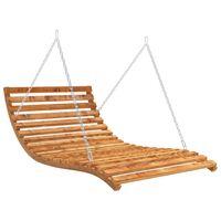 vidaXL Swing Bed Solid Spruce Wood with Teak Finish 143x120x65 cm