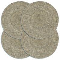 vidaXL Placemats 4 pcs Plain Grey 38 cm Round Jute