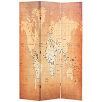 vidaXL Folding Room Divider 120x170 cm World Map Yellow
