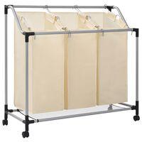 vidaXL Laundry Sorter with 3 Bags Cream Steel