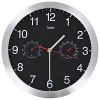 vidaXL Wall Clock with Quartz Movement Hygrometer Thermometer Black