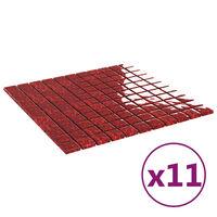 vidaXL Self-adhesive Mosaic Tiles 11 pcs Red 30x30 cm Glass