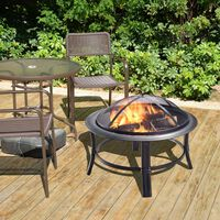 Peaktop Outdoor Garden Patio Heater Steel Wood Burning Fire Pit Firepi
