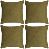 vidaXL Cushion Covers 4 pcs Linen-look Green 80x80 cm