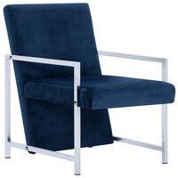 vidaXL Armchair with Chrome Feet Blue Velvet
