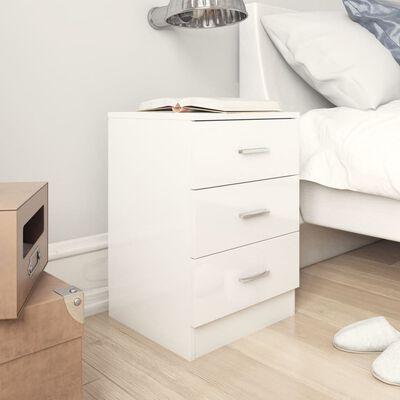 vidaXL Bedside Cabinets 2 pcs High Gloss White 38x35x56 cm Chipboard