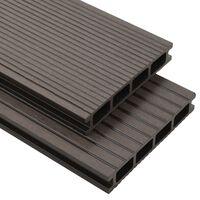 vidaXL WPC Hollow Decking Boards with Accessories 10m² 2.2m Dark Brown