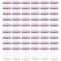 vidaXL Glass Jam Jars with White and Purple Lid 48 pcs 400 ml