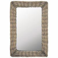 vidaXL Mirror Wicker Brown 40x60 cm