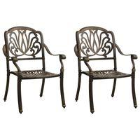 vidaXL Garden Chairs 2 pcs Cast Aluminium Bronze