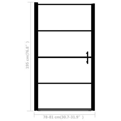 vidaXL Shower Door Frost Tempered Glass 81x195 cm Black