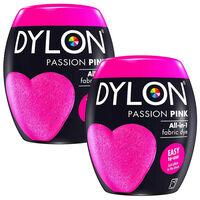 Dylon Washing Machine Fabric Dye Pod, Passion Pink, 2 Packs Of 350g