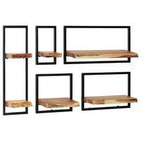 vidaXL Wall Shelf Set 5 Pieces Solid Acacia Wood and Steel
