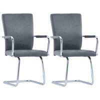 vidaXL Cantilever Dining Chairs 2 pcs Suede Grey Faux Leather