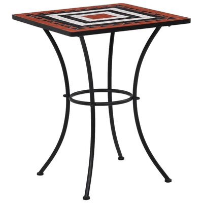 vidaXL Mosaic Bistro Table Terracotta and White 60 cm Ceramic