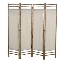 vidaXL Folding 4-Panel Room Divider Bamboo and Canvas 160 cm