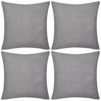 4 Grey Cushion Covers Cotton 50 x 50 cm