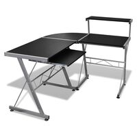 vidaXL Computer Desk with Pull-out Keyboard Tray L-shaped Black
