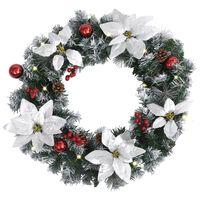 vidaXL Christmas Wreath with LED Lights Green 60 cm PVC