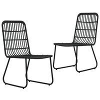 vidaXL Garden Chairs 2 pcs Poly Rattan Black