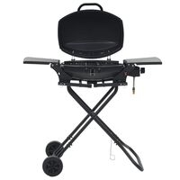 vidaXL Portable Gas BBQ Grill with Cooking Zone Black