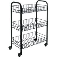 Metaltex Kitchen Trolley with 3 Baskets Siena Black
