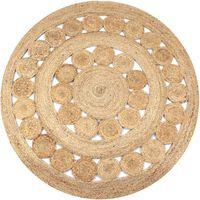 vidaXL Area Rug Braided Design Jute 120 cm Round
